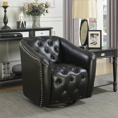 Groveport Swivel Barrel Chair Upholstery: Black