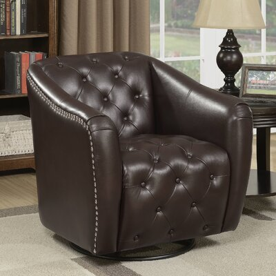 Groveport Swivel Barrel Chair Upholstery: Chocolate