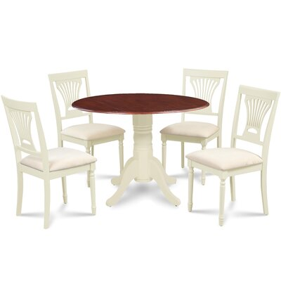 Forthill 5 Piece Round Dining Set Finish: Buttermilk/Mahogany
