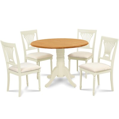 Forthill 5 Piece Round Dining Set Finish: Buttermilk/Oak