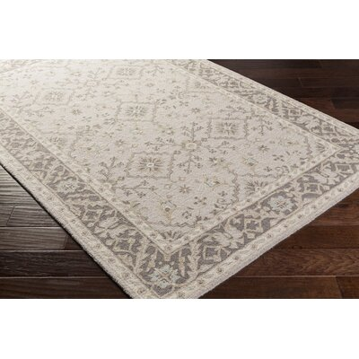 Pottershill Hand-Tufted Beige/Charcoal Area Rug Rug Size: Rectangle 5 x 76