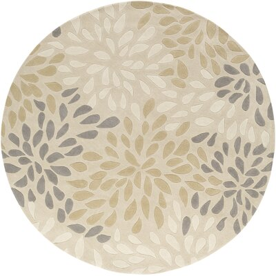 Carrie Hand-Tufted Ivory Area Rug Rug Size: Round 8