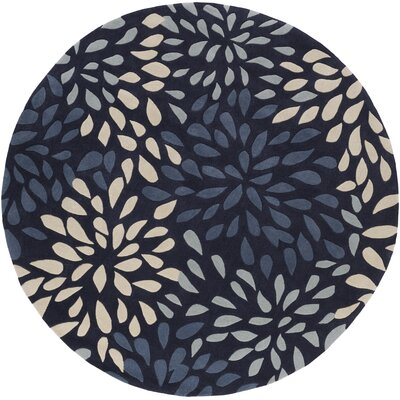 Carrie Hand-Tufted Navy Area Rug Rug Size: Round 8