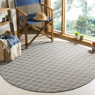 Bexton Anthracite/Beige Indoor/Outdoor Area Rug Rug Size: Round 53