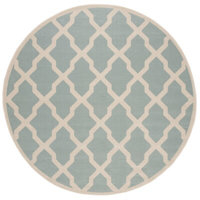 Cashion Aqua/Cream Area Rug Rug Size: Round 67