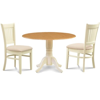 Thornhill Round Carved 3 Piece Dining Set Finish: Buttermilk Oak/Off-White