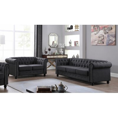 Hubert 2 Piece Living Room Set Upholstery: Dark Gray