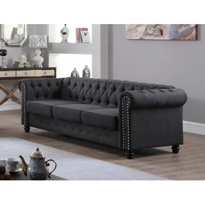 Altman Fabric Modern Living Room Sofa Upholstery: Dark Gray