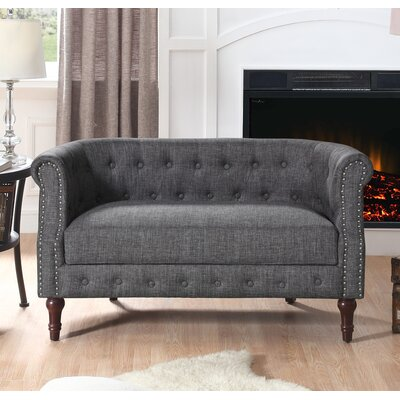 Edmeston Chesterfield Loveseat Upholstery: Gray