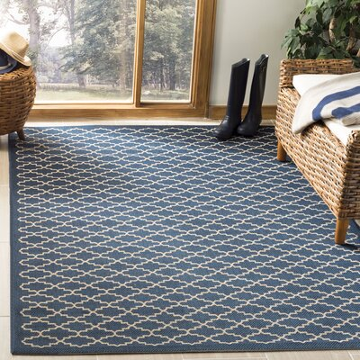 Louisville Navy/Beige Indoor/Outdoor Area Rug Rug Size: Rectangle 2 x 37