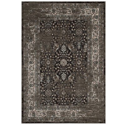 Housley Vintage Beige/Black Area Rug Rug Size: Rectangle 5 x 8
