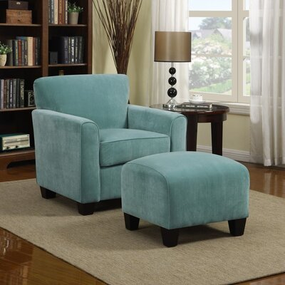 Armchair and Ottoman Upholstery: Turquoise