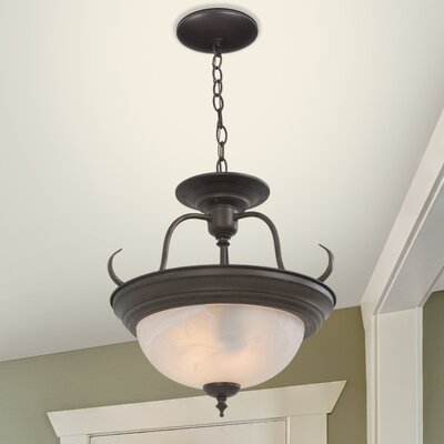 Barnesville 2-Light Semi Flush Mount Finish: Dark Brown