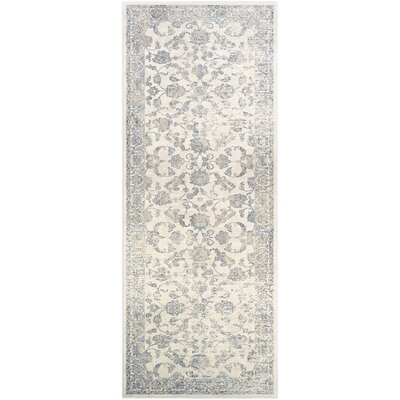 Nadine Botanic Applique Dew/Gray Area Rug Rug Size: Runner 27 x 71