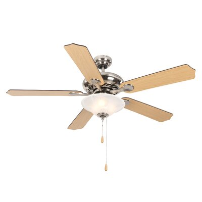 52 Hanrahan 5-Blade Ceiling Fan Finish: Bright Brushed Nickel