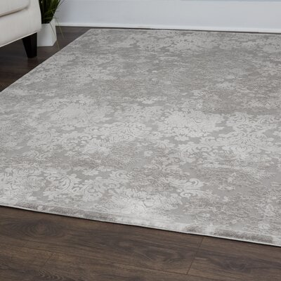 Jourdan Floral Gray Area Rug Rug Size: Rectangle 92 x 125