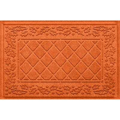 Olivares Diamond Holly Outdoor Doormat Color: Orange