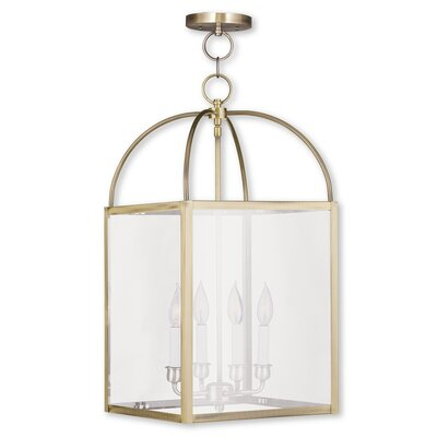 Brundidge 4-Light 60W Foyer Pendant Finish: Antique Brass, Shade: Clear Glass
