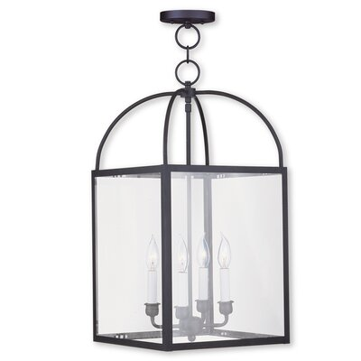 Brundidge 4-Light 60W Foyer Pendant Finish: Black, Shade: Clear Glass