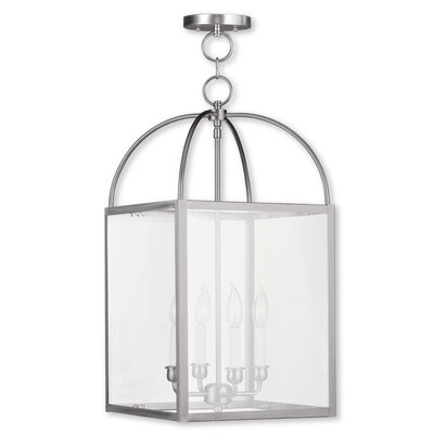 Brundidge 4-Light 60W Foyer Pendant Finish: Brushed Nickel, Shade: Clear Glass