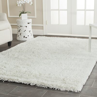 Kirtley White Shag Area Rug Rug Size: 7'6