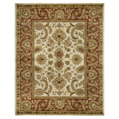 Bromley Hand-Tufted Wool Ivory/Red Area Rug Rug Size: Rectangle 76 x 96