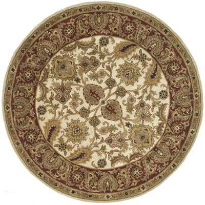 Bromley Hand-Tufted Wool Ivory/Red Area Rug Rug Size: Round 6'