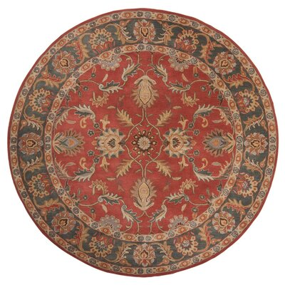 Waterston Hand-Woven Wool Red Area Rug Rug Size: Round 8