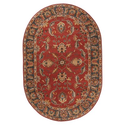 Waterston Hand-Woven Wool Red Area Rug Rug Size: Oval 8 x 10