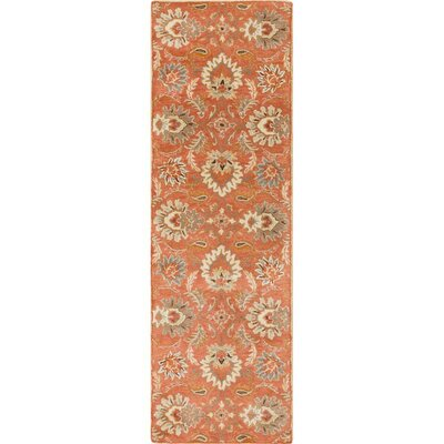 Gaither Hand-Woven Wool Burnt Orange Area Rug Rug Size: Runner 26 x 8
