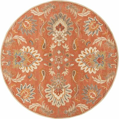 Gaither Hand-Woven Wool Burnt Orange Area Rug Rug Size: Round 4