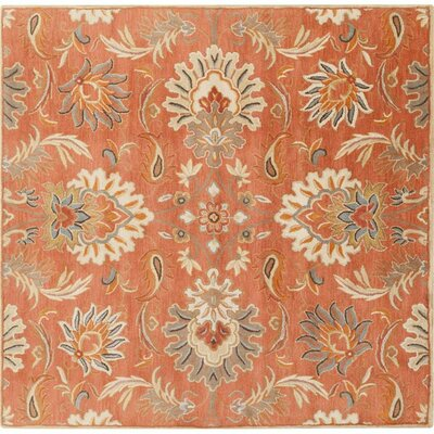 Gaither Hand-Woven Wool Burnt Orange Area Rug Rug Size: Square 6