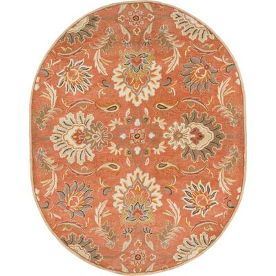Gaither Hand-Woven Wool Burnt Orange Area Rug Rug Size: Oval 8 x 10