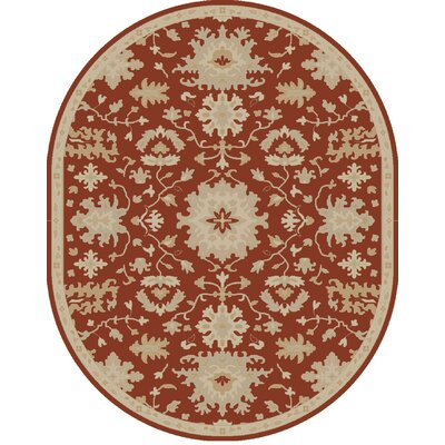 Willard Burgundy/Beige Area Rug Rug Size: Oval 6 x 9