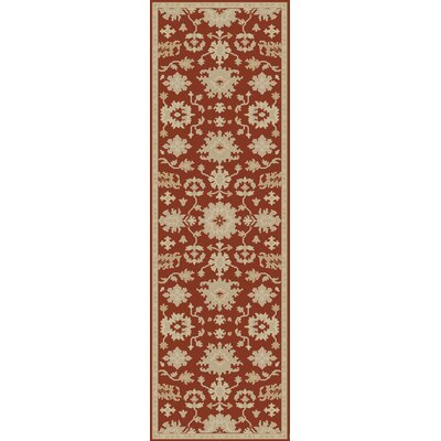 Willard Burgundy/Beige Area Rug Rug Size: Runner 26 x 8
