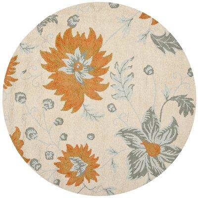 Elsner Ivory Floral Area Rug Rug Size: Round 6'