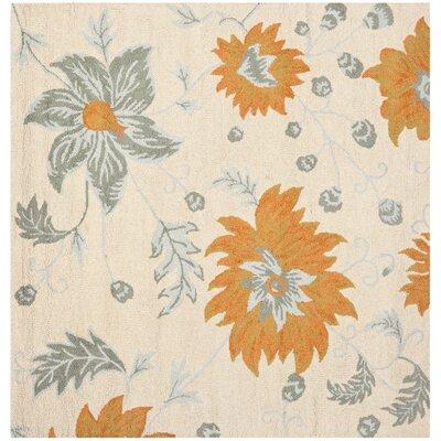 Elsner Ivory Floral Area Rug Rug Size: Square 6'