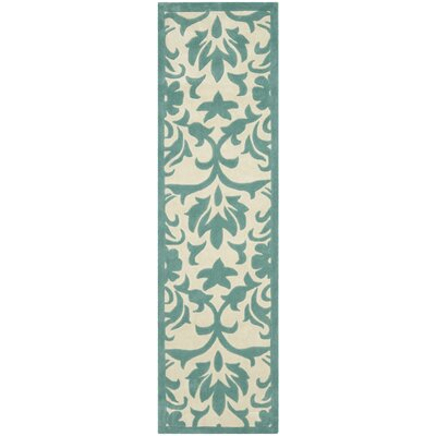 Amagansett Ivory/Light Blue Rug Rug Size: Runner 23 x 8