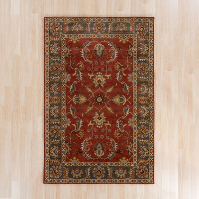 Waterston Hand-Woven Wool Red Area Rug Rug Size: Round 6