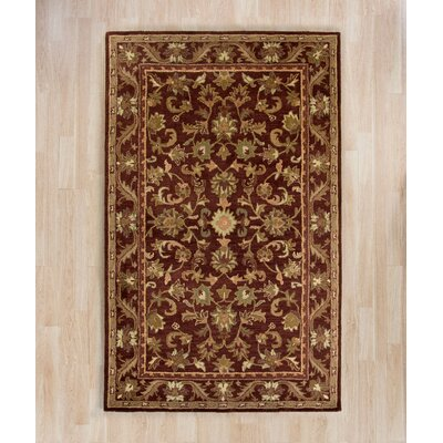 Wine & Gold Area Rug Rug Size: Rectangle 76 x 96