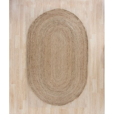 Chatham Hand-Woven Wool Light Tan Area Rug Rug Size: Oval 5 x 8