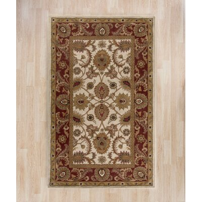 Bromley Hand-Tufted Wool Ivory/Red Area Rug Rug Size: Rectangle 96 x 136
