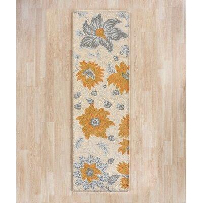 Elsner Ivory Floral Area Rug Rug Size: Runner 23 x 8