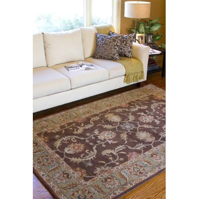 Waterston Floral Brown Area Rug Rug Size: Round 4