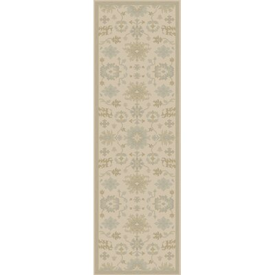 Willard Hand-Woven Wool Beige/Green Area Rug Rug Size: Runner 26 x 8