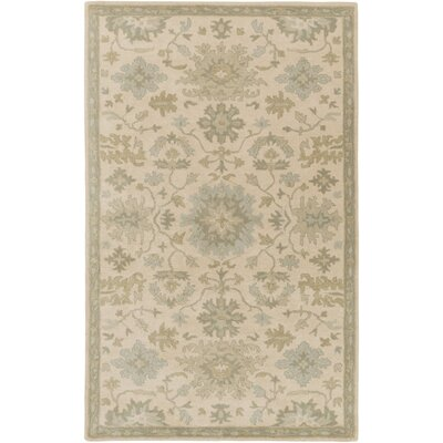 Willard Hand-Woven Wool Beige/Green Area Rug Rug Size: Rectangle 76 x 96