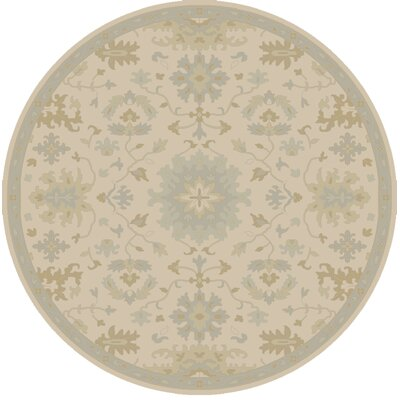 Willard Hand-Woven Wool Beige/Green Area Rug Rug Size: Round 6
