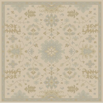 Willard Hand-Woven Wool Beige/Green Area Rug Rug Size: Square 8