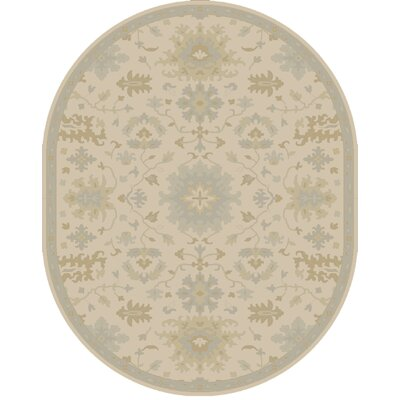 Willard Hand-Woven Wool Beige/Green Area Rug Rug Size: Oval 6 x 9