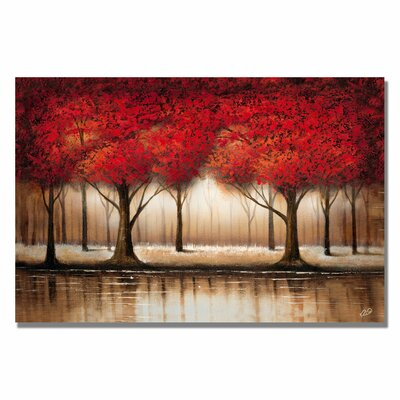 Charlton Home Parade of Red Trees Painting Print on Canvas